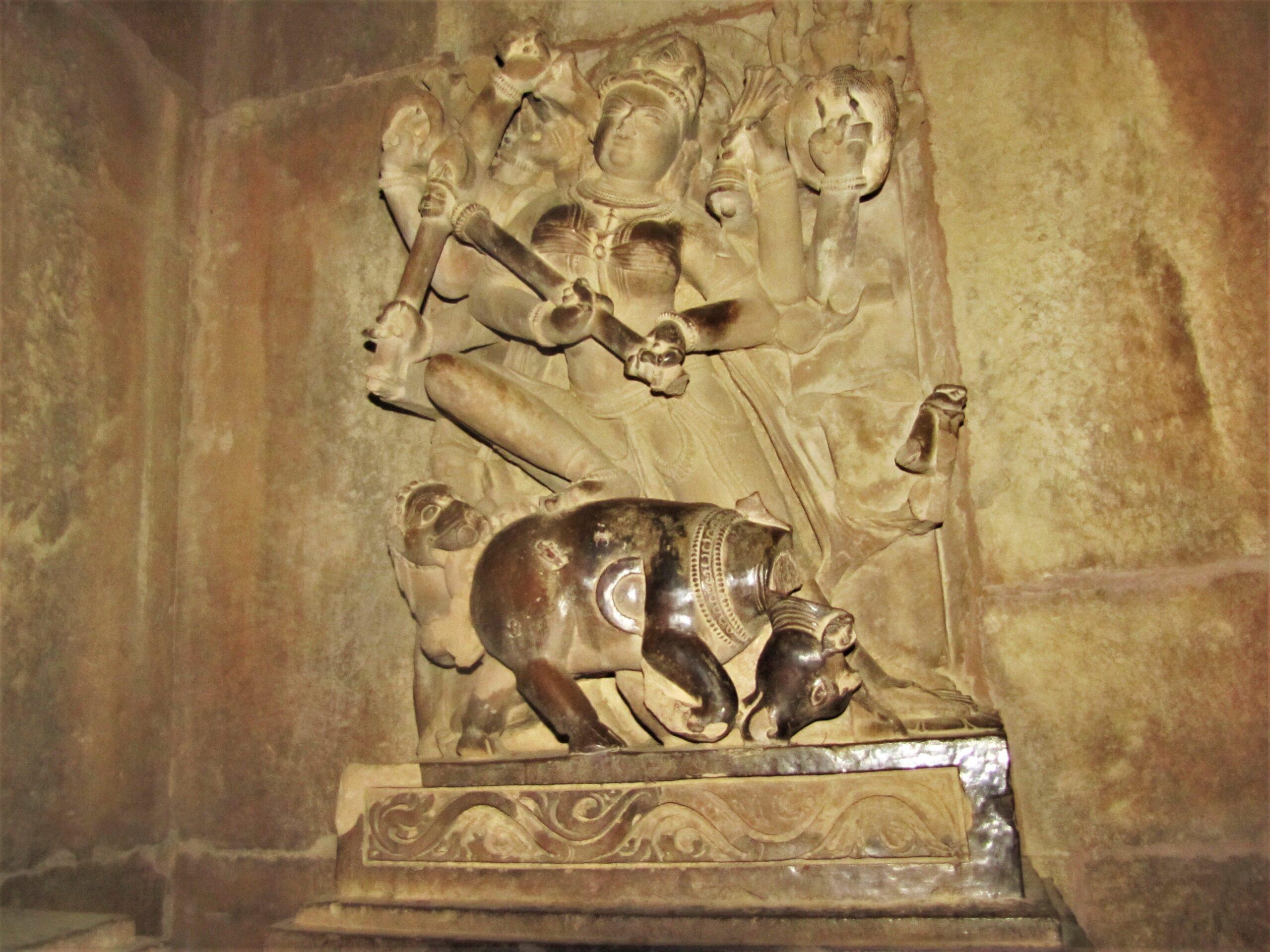 Mahishasuramardini sculpture at Lakshman Temple, Khajuraho