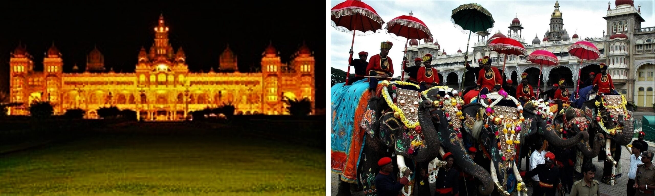 Left: Mysore Palace illuminated during Dussehra | PC - Wikipedia, Right: Procession of Elephants | PC - travelogyindia.com
