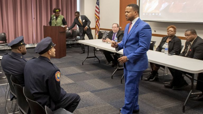 Nassau County Legis. Carrie Solages at a forum with black leaders about issues pertaining to minorities in Nassau County. Photo Credit: Howard Simmons