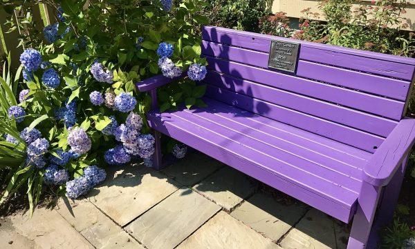 bench in memoriam in Tara's Garden