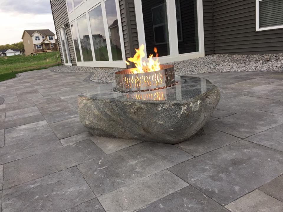 custom fire pit paver patio