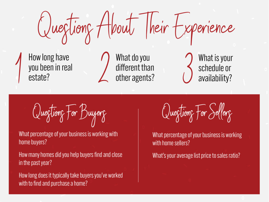 Questions to ask about an agent's experience.