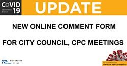Online Public Comment Form Now Available for City Council, CPC Meetings