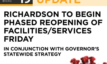 RICHARDSON TO BEGIN PHASED REOPENING OF FACILITIES/SERVICES FRIDAY IN CONJUNCTION WITH GOVERNOR'S STATEWIDE STRATEGY