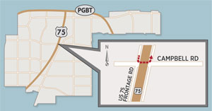 SB US 75 U-Turn Lane Closes at Campbell Road