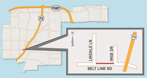 Lane Closure Near Richardson Heights