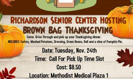 Drive-Through Brown Bag Thanksgiving for Seniors Nov. 24