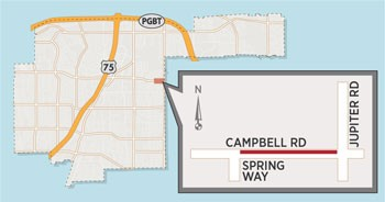 Two-Lane Closure Expected Near Campbell/Jupiter Intersection