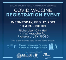 Vaccine Registration Event in Richardson Feb. 17