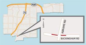 Temporary Lane Closure Expected Near Buckingham/Abrams