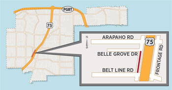 Temporary Lane Closure on US 75 Frontage Road