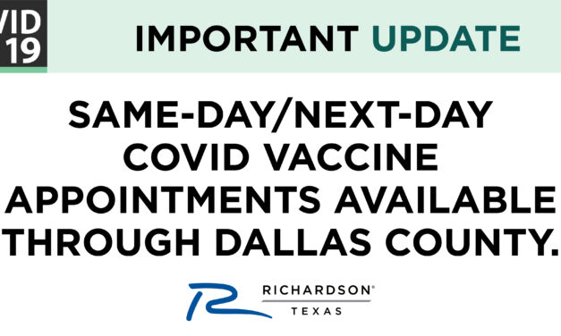 Same-Day or Next-Day Appointments for first dose of a covid-19 vaccine available at fair park community vaccination center through dallas county