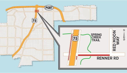 Multiple Lane Closures Planned Near US 75/Renner