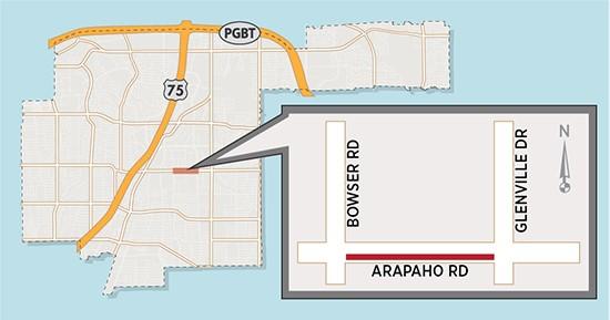 Short-term, 24/7 Lane Closures Expected on Arapaho Road near Glenville Drive