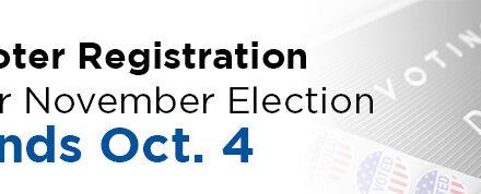Voter Registration for November Election Ends Oct. 4