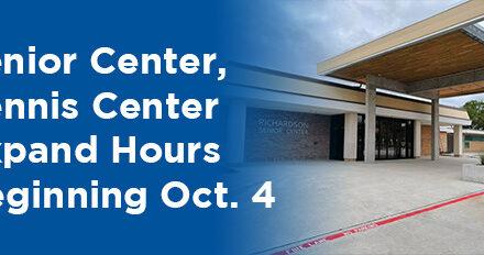 Senior Center, Tennis Center Expand Hours Beginning Oct. 4