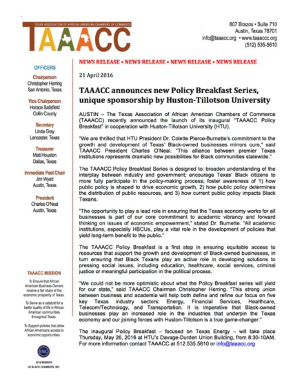 TAAACC announces new Policy Breakfast Series, unique sponsorship by Huston-Tillotson University