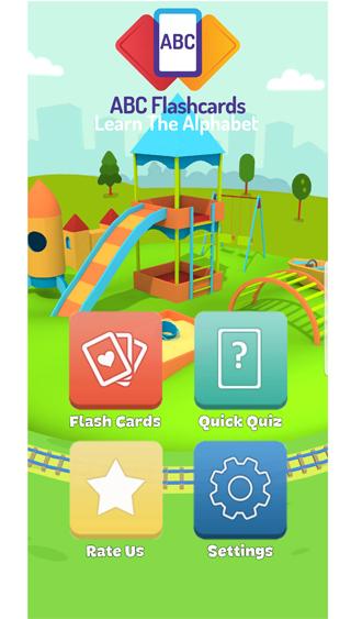 alphabet flash cards - home screen