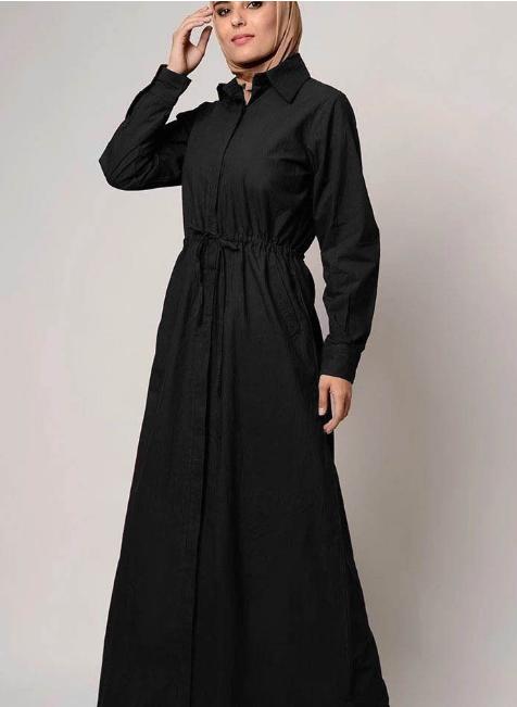 Drawstring Detail Everyday Wear Shirt Style Abaya Dress