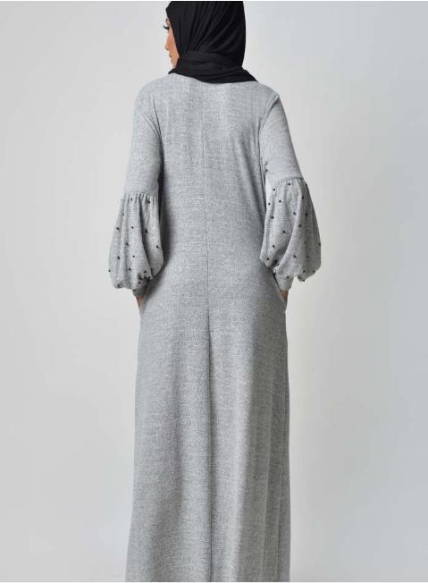 Pearl Caught Style Abaya – Grey