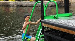 WetStep ladder with boy