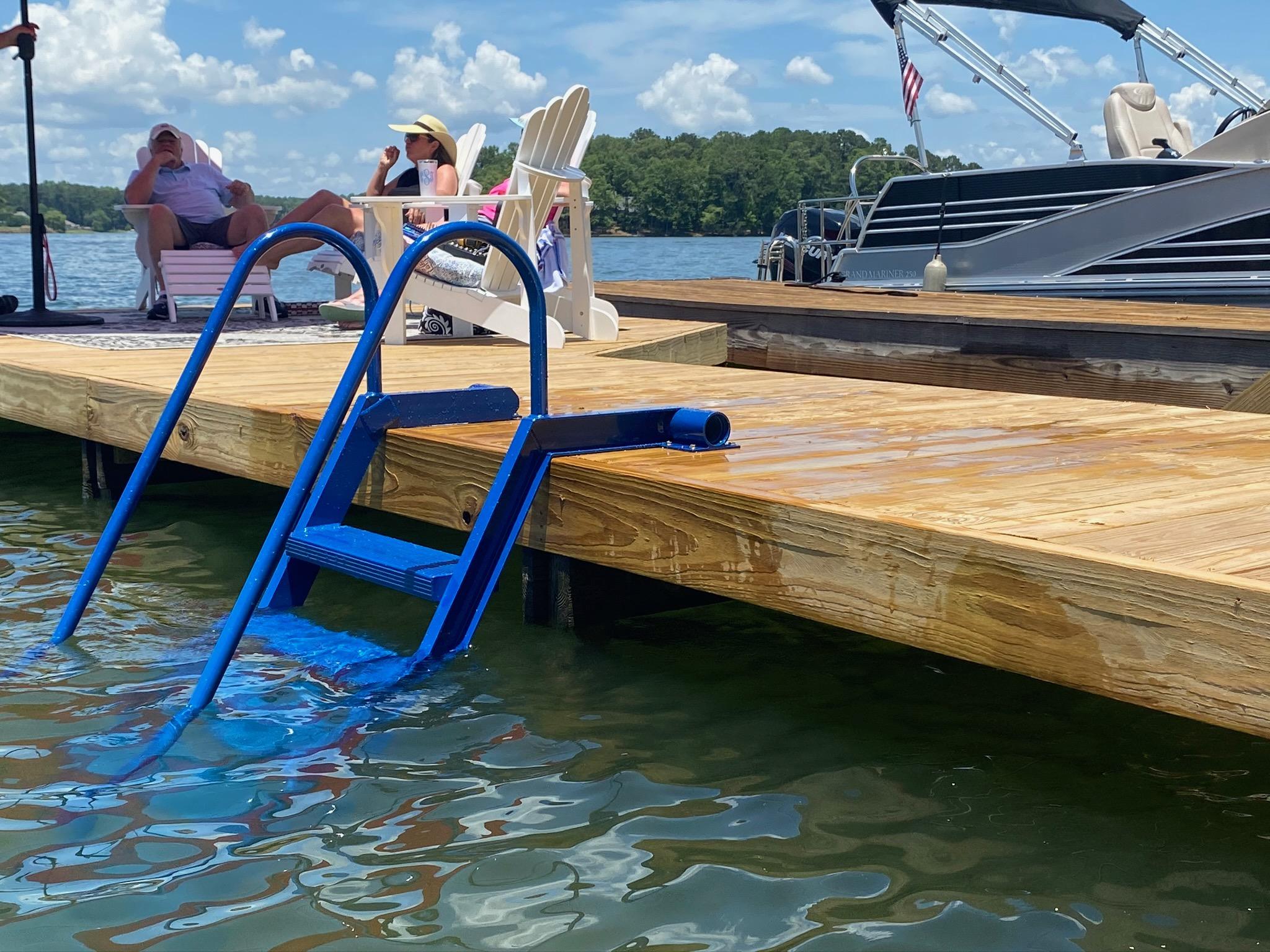 Blue WetSteps ladder on dock