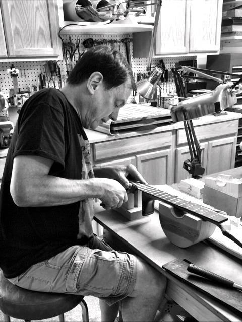 Kurt working on a guitar