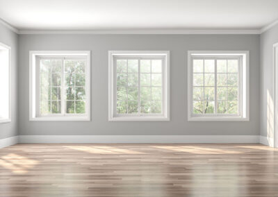 Classical empty room interior 3d render,The rooms have wooden fl