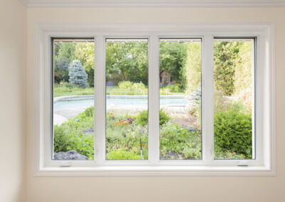 Window with view of summer backyard
