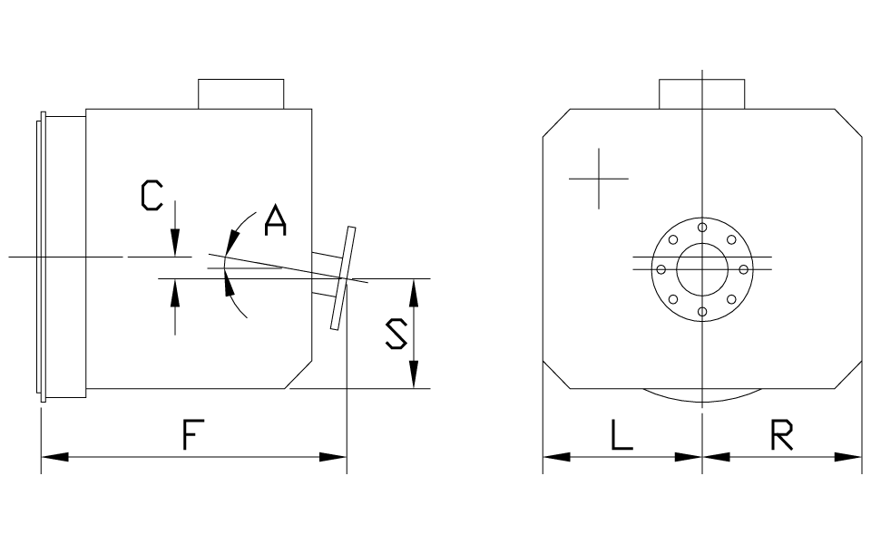 Near Coaxial Down Angle Dimensions
