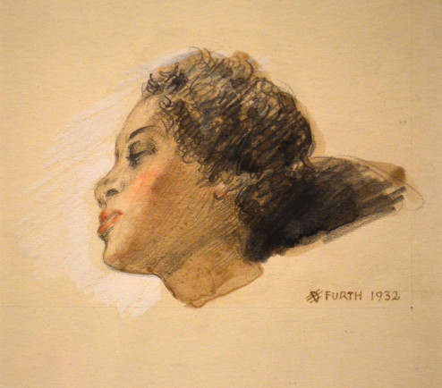 Hertha Furth - Colored pencil and charcoal