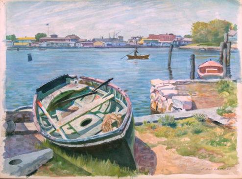 Olson - Watercolor - Boat Off-Shore