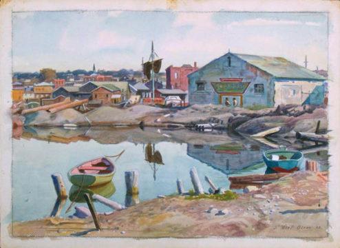 Olson - Watercolor - Boatyard