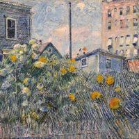 David Burliuk - Painting - Sunflowers in an Urban Garden
