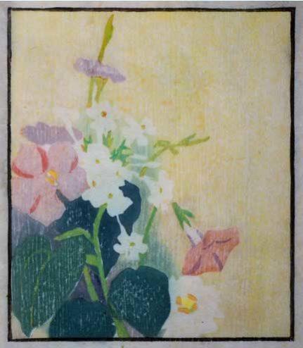 Edna B. Hopkins - Woodcut - White Flowers