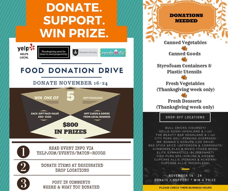 Yelp Baton Rouge Food Donation Drive