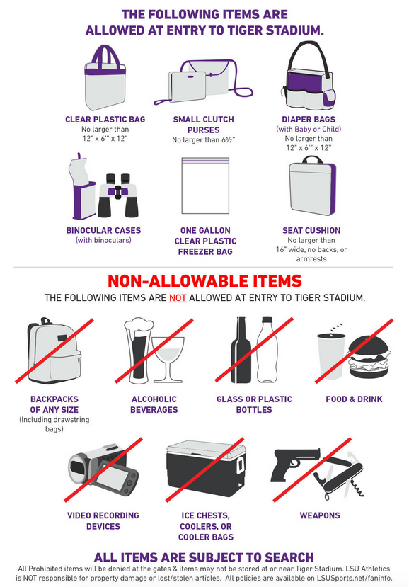 LSU goes clear with new bag policy at Tiger Stadium for football games