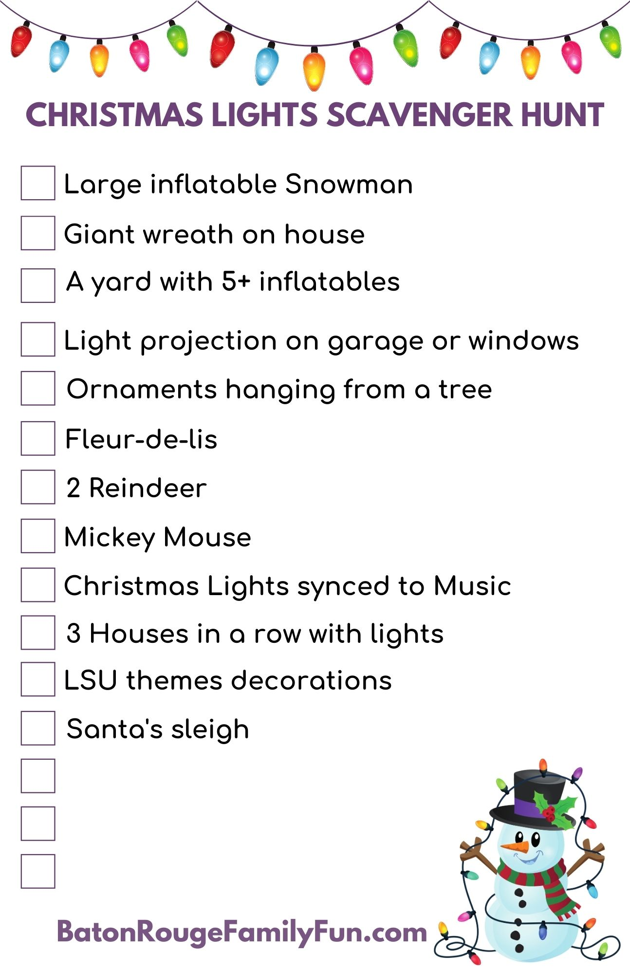 Christmas Lights Scavenger Hunt – Baton Rouge Family Fun