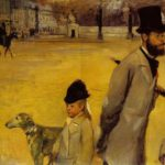 Painting detail showing a greyhound by Degas