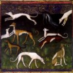 Medieval painting detail showing a greyhound by Phoebus