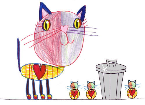 Cat math illustration with garbage lid