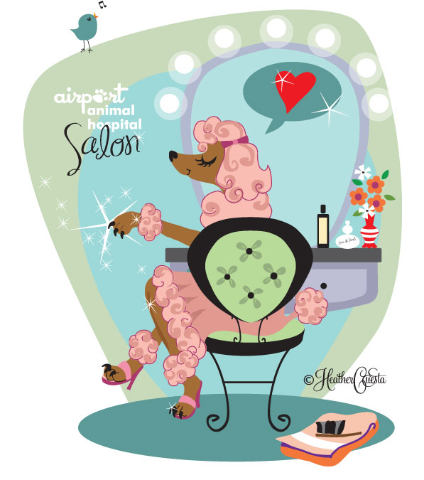 Illustration of a glamorous Poodle in a salon