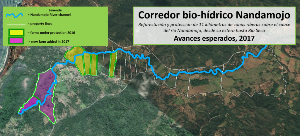 A map of farms participating in our riparian corridor reforestation program, as of 2017.