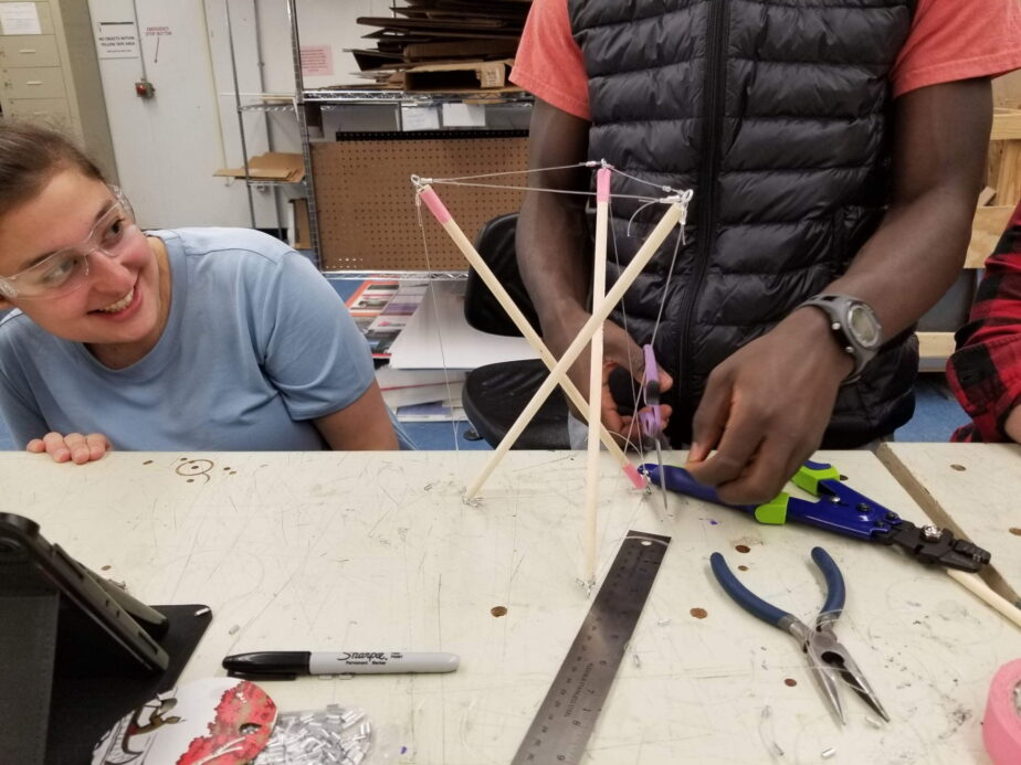 Making tensegrity tripods (warm-up exercise)