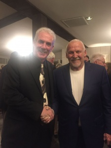 "The ""Guest Coordinator"" and frequent ""Clean And Sober"" Co-host Jim Pietrowski along with Flyer's Goalie Bernie Parent."
