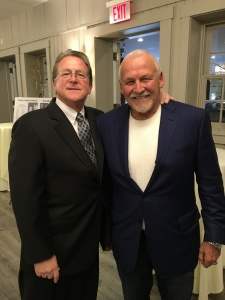 "Gary Hendler with frequent ""Clean And Sober"" Guest Bernie Parent."