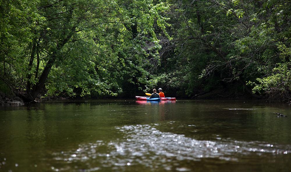 Kayakers on Menomonee River, Curry Park, Wauwatosa