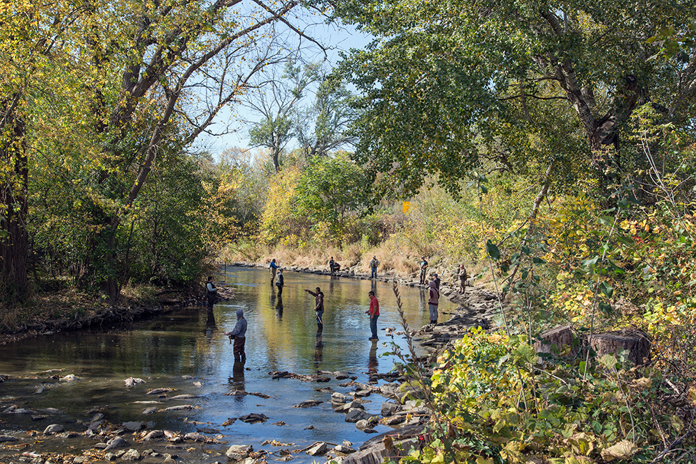 Fishing the Root River, Lincoln Park, Racine