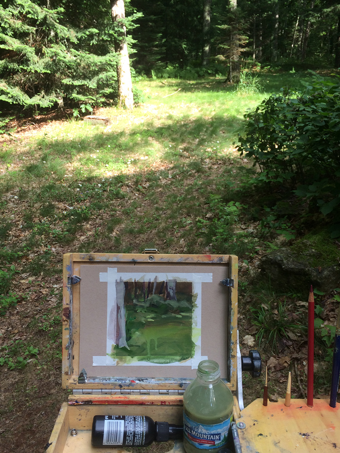 Working plein aire on easel