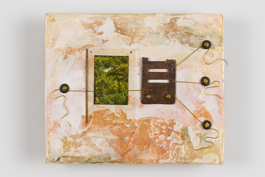 """Music to My Ears, 4"""" x 5"""", paint, wire, found objects"""
